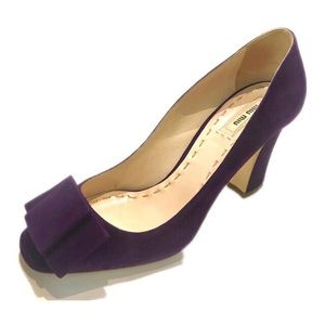 Miu Miu Purple Suede Bow Chunky Heel Peep Toe heel
